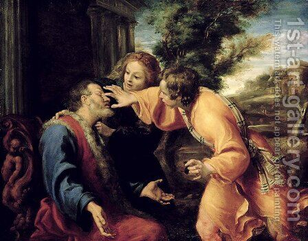 The Young Tobias Heals his Blind Father, c.1600 by Annibale Carracci - Reproduction Oil Painting