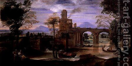 Roman Landscape with a Bridge by Annibale Carracci - Reproduction Oil Painting