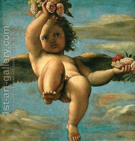 A Cherub Carrying Flowers (2) by Annibale Carracci - Reproduction Oil Painting
