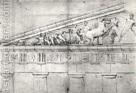 Study of a pediment from the Parthenon by Jacques Carrey - Reproduction Oil Painting