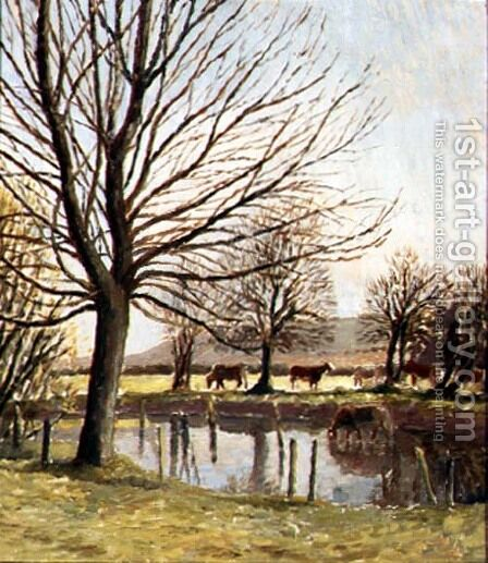Cattle by a Pond by Dora Carrington - Reproduction Oil Painting
