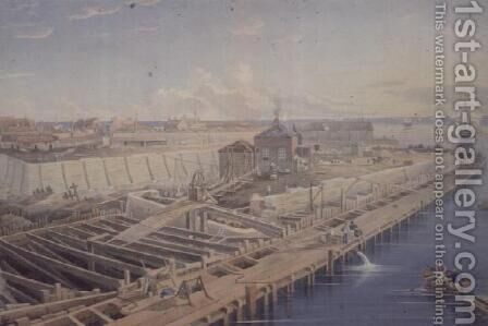 Construction of Docks by Henry Barlow Carter - Reproduction Oil Painting