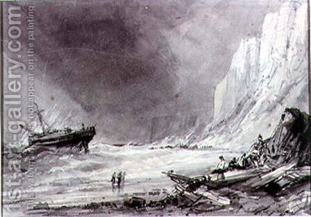 A Wreck off Speeton Cliffs, Yorkshire by Henry Barlow Carter - Reproduction Oil Painting