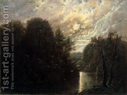 River Landscape in the Rosental near Leipzig by Carl Gustav Carus - Reproduction Oil Painting