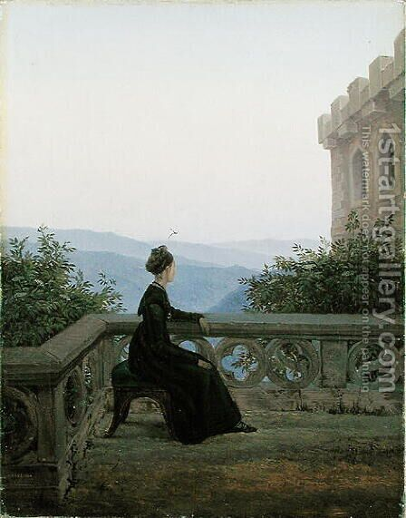 Woman on a Stool, 1824 by Carl Gustav Carus - Reproduction Oil Painting