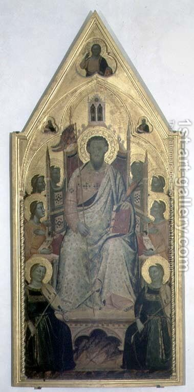 St. Bartholomew enthroned with Angels by Jacopo Del Casentino - Reproduction Oil Painting