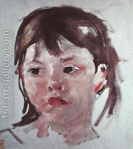 Head of a Young Girl 2 by Mary Cassatt - Reproduction Oil Painting