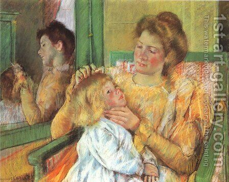 Mother Combing Her Child's Hair, c.1901 by Mary Cassatt - Reproduction Oil Painting