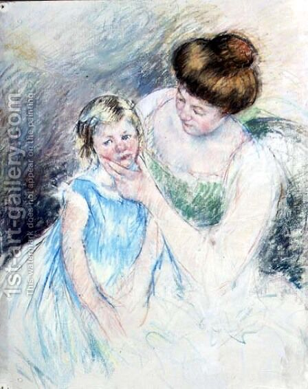 Mother with Left Hand Holding Sara's Chin by Mary Cassatt - Reproduction Oil Painting