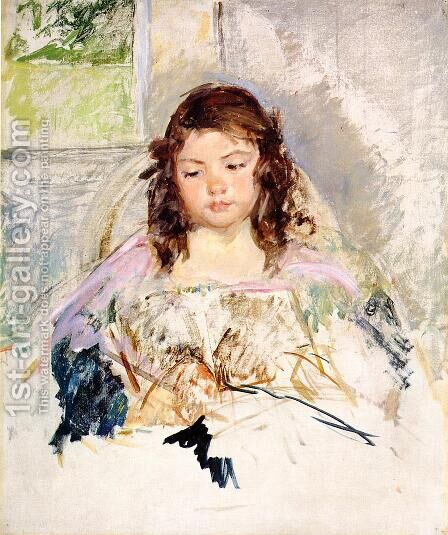 Sketch for 'Francoise in a Round-Backed Chair, Reading' or 'A Girl in Pink' c.1908 by Mary Cassatt - Reproduction Oil Painting