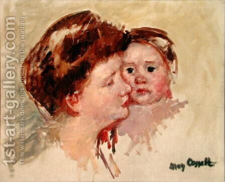 Mother in Profile with Baby Cheek to Cheek (No.2), c.1909 by Mary Cassatt - Reproduction Oil Painting