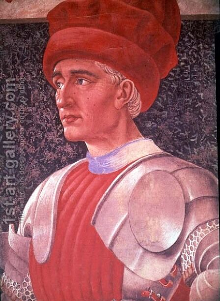 Farinata degli Uberti (detail of his bust, from the Villa Carducci series of famous men and women) c.1450 by Andrea Del Castagno - Reproduction Oil Painting