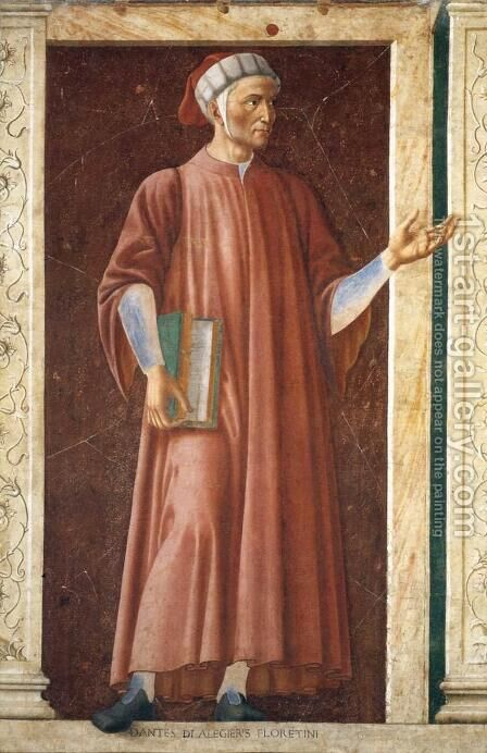 Dante Alighieri (1265-1321) from the Villa Carducci series of famous men and women, c.1450 by Andrea Del Castagno - Reproduction Oil Painting