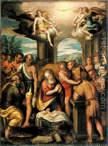 Adoration of the Shepherds, 1582 by Bernardo Castello - Reproduction Oil Painting