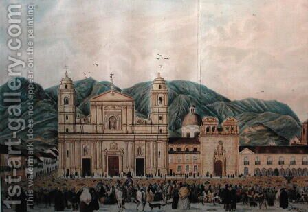 The Plaza de Bolivar, Bogota, 1837 by J. Castillo - Reproduction Oil Painting