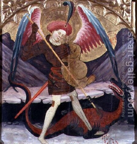 St Michael Vanquishing Evil, c.1480 by Catalan Master - Reproduction Oil Painting