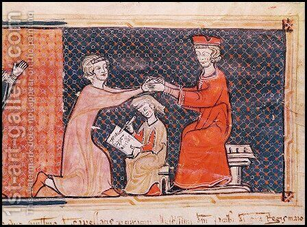 The Royal Prosecutor, the Scribe and the Feudal Lord, from 'Capbreu de Clayra et de Millas' 1292 by Anonymous Artist - Reproduction Oil Painting
