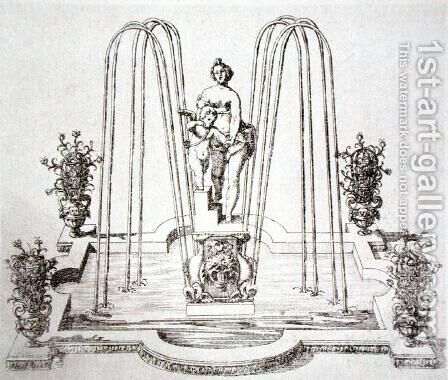 Fountain design from 'The Gardens of Wilton', c.1645 (3) by Isaac de Caus - Reproduction Oil Painting