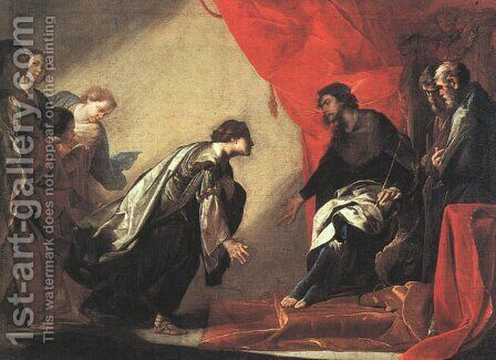 Esther in front of Ahasuerus, c.1645-50 by Bernardo Cavallino - Reproduction Oil Painting