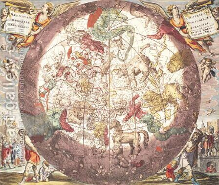 Northern (Boreal) Hemisphere, from 'Atlas Coelestis' by Andreas Cellarius - Reproduction Oil Painting