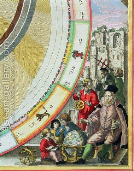 Tycho Brahe (1546-1601), detail from a map showing his system of planetary orbits, from 'The Celestial Atlas, or The Harmony of the Universe' by Andreas Cellarius - Reproduction Oil Painting