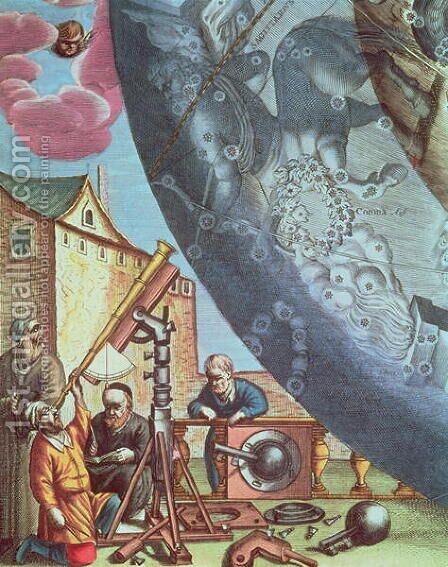Astronomers looking through a telescope, detail from a map of the constellations from 'The Celestial Atlas, or The Harmony of the Universe' by Andreas Cellarius - Reproduction Oil Painting