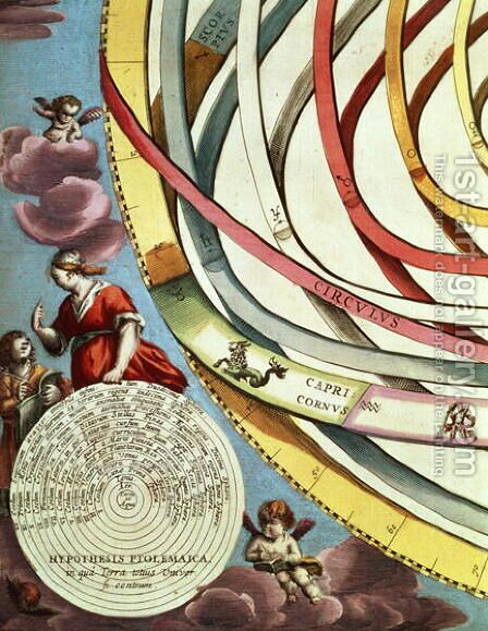 Corner detail of a geocentric map, showing the Ptolemaic systems from 'The Celestial Atlas, or the Harmony of the Universe' by Andreas Cellarius - Reproduction Oil Painting
