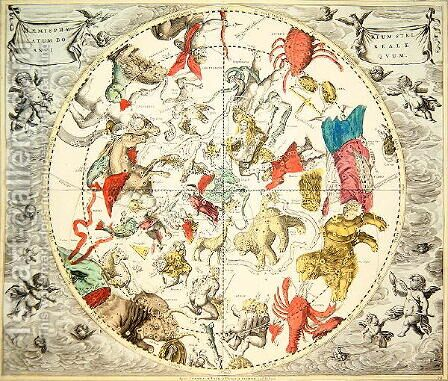 Celestial Planisphere Showing the Signs of the Zodiac, from 'The Celestial Atlas, or The Harmony of the Universe' by Andreas Cellarius - Reproduction Oil Painting