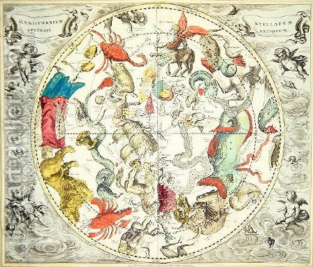 Map of the Southern Hemisphere, from 'The Celestial Atlas, or The Harmony of the Universe' 1660 by Andreas Cellarius - Reproduction Oil Painting