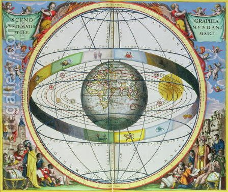 Map of Christian Constellations, from 'The Celestial Atlas, or The Harmony of the Universe' by Andreas Cellarius - Reproduction Oil Painting