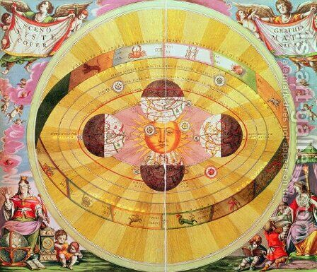 Scenographia: Systematis Copernicani Astrological Chart, c.1543, devised by Nicolaus Copernicus (1473-1543) from 'The Celestial Atlas, or the Harmony of the Universe' by Andreas Cellarius - Reproduction Oil Painting