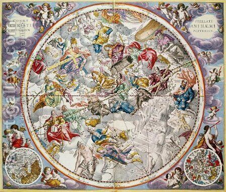 Map of the Christian Constellations as depicted by Julius Schiller, from 'The Celestial Atlas, or The Harmony of the Universe' (2) by Andreas Cellarius - Reproduction Oil Painting