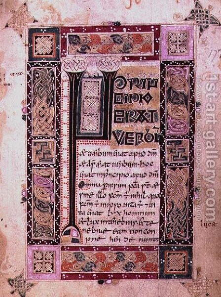 First page of the Gospel of St. John the Evangelist, text with initial and decorative border, from the MacDurnan Gospels, Armagh by Celtic - Reproduction Oil Painting