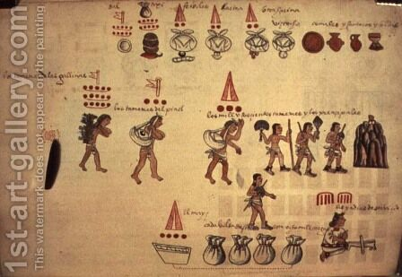 Codex Kingsborough representation of the Ecomienda System, Honduras, 600-800AD by Anonymous Artist - Reproduction Oil Painting