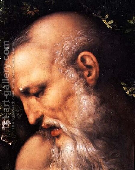 St. Jerome  (detail of the saint's head) by Cesare da Sesto - Reproduction Oil Painting