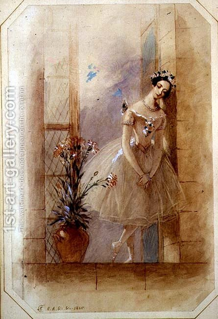 Standing on the window ledge, La Sylphide mourns James's betrothal to his childhood sweetheart, Marie Taglioni (1804-1884) in Act I of a performance of 'La Sylphide, Souvenir D'Adieu', 1845 by Alfred-Edward Chalon - Reproduction Oil Painting
