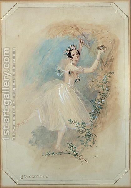 James, having deserted Effie, presents La Sylphide with a nest of a sister creature of the air. by Alfred-Edward Chalon - Reproduction Oil Painting