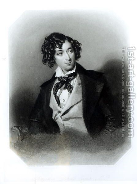 Portrait of Benjamin Disraeli Esquire (1804-81)  c.1840 by Alfred-Edward Chalon - Reproduction Oil Painting