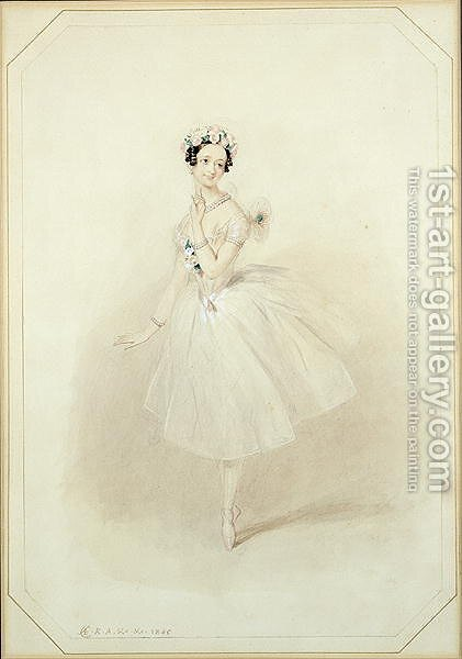 La Sylphide, the ethereal creature, dances for James, Marie Taglioni (1804-1884) in Act I of a performance of 'La Sylphide, Souvenir D'Adieu', 1845 by Alfred-Edward Chalon - Reproduction Oil Painting