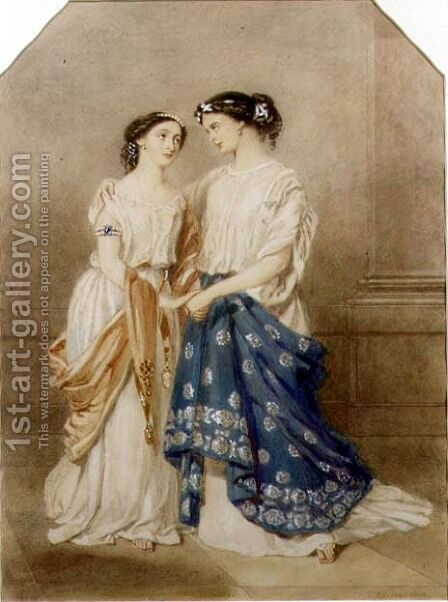 Scene from the 1848 production of 'Antigone' at the St. James Theatre with Mlle. Baptiste as Ismeme and Mme. Pechter as Antigone, 1848 by Alfred-Edward Chalon - Reproduction Oil Painting