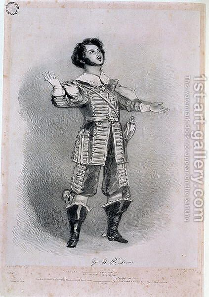 Giovanni Battista Rubini (1794-1854) as Arturo in 'I Puritani', proof copy from 'Recollections of the Italian Opera', 1836 by Alfred-Edward Chalon - Reproduction Oil Painting