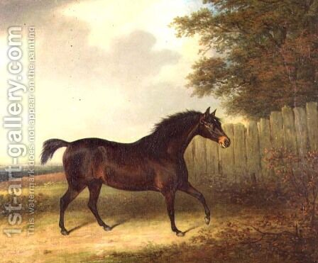 A dark bay stallion in a landscape by Henry Bernard Chalon - Reproduction Oil Painting