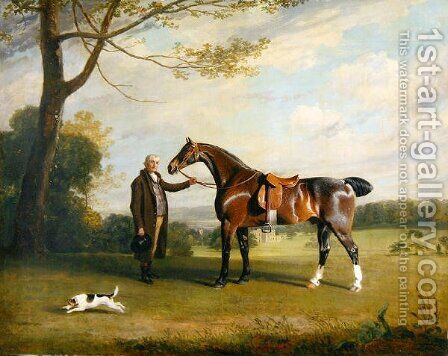 The Earl of Shrewsbury's Groom Holding a Hunter, c.1800 by Henry Bernard Chalon - Reproduction Oil Painting