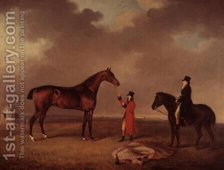 Bay Horse with groom on Newmarket Heath by Henry Bernard Chalon - Reproduction Oil Painting