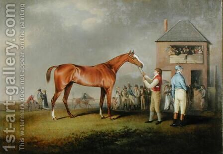 Portrait of 'Quiz', the property of Lord Rous, after his last race at Newmarket by Henry Bernard Chalon - Reproduction Oil Painting