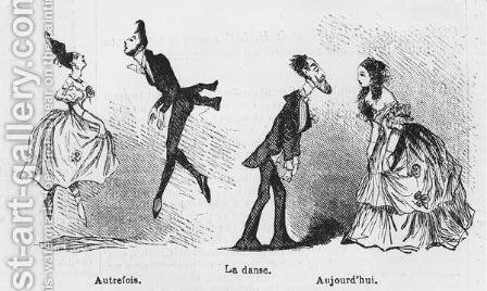 Caricature of dance, illustration from 'L'Illustration', 1847 by Amedee Charles Henri de Noe (Cham) - Reproduction Oil Painting