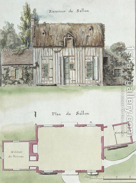 Exterior and floor plan of the living room of the Chateau de Chantilly, f.16 from the 'Atlas du Comte du Nord', 1784 by Chambe - Reproduction Oil Painting