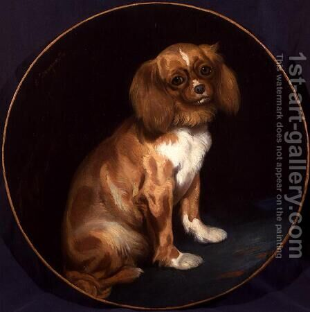 A King Charles Spaniel by Charles Emile Callande de Champmartin - Reproduction Oil Painting