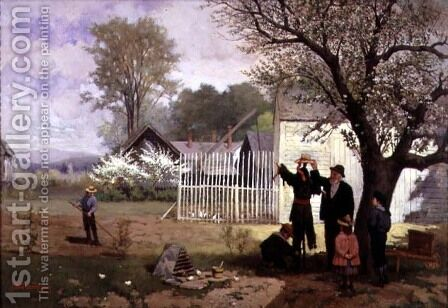 Making the Scarecrow, c.1880 by James Wells Champney - Reproduction Oil Painting