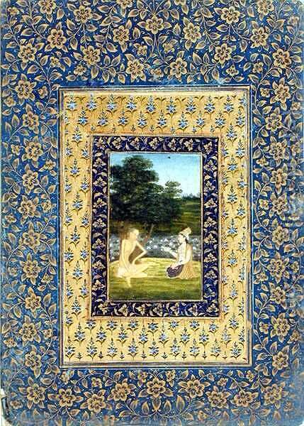 Layla Reading to Majnun, who sits under a tree by a lotus pool, Delhi, c.1720-40 by Dal Chand - Reproduction Oil Painting